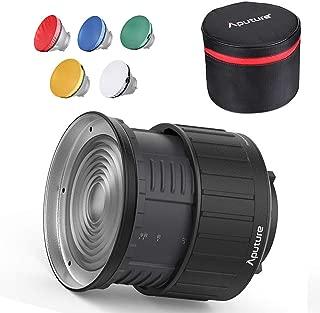 NiceFoto FD-110 Fresnel Lens Focusing Adjuster Floodlight 45/° Spotlight 17/° with Lights Honeycomb Grids Barn Doors for Aputure 120D Mark 2 300D 120D LS C300D and Other Bowen-S Mount Continuous Light