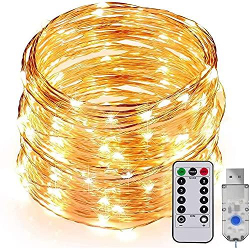 Cadena de Luces LED, 20M 200 LED Guirnalda de Luces Luces de hadas Blanco Cálido, USB Cadena de Luces 8 Modos de iluminación con Control Remoto para Navidad Fiesta Jardín Boda Decoración