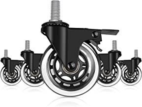 """Hirate 5 Pack 3"""" Office Chair Locking Wheels with Brakes, 3/8"""" Threaded Caster Wheel for All Floors, Smooth Rolling Caster..."""