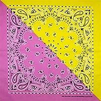 NXQZSD ヒップホップ100%コットンターバンスクエアスカーフ55cm * 55cmブラックレッドターバン (Color : Pink yellow)
