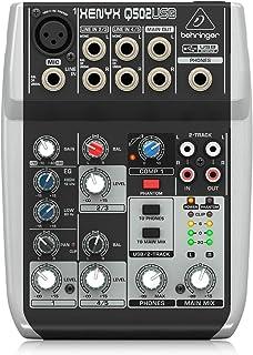 Behringer XENYX Q502USB Mezclador USB para DJ (5 entradas, 2 buses, Jack de 2.5 mm)