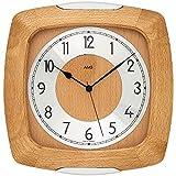 AMS 5804/18 - Reloj de pared (radiocontrolado por radio, analógico, madera de haya maciza, con cristal)