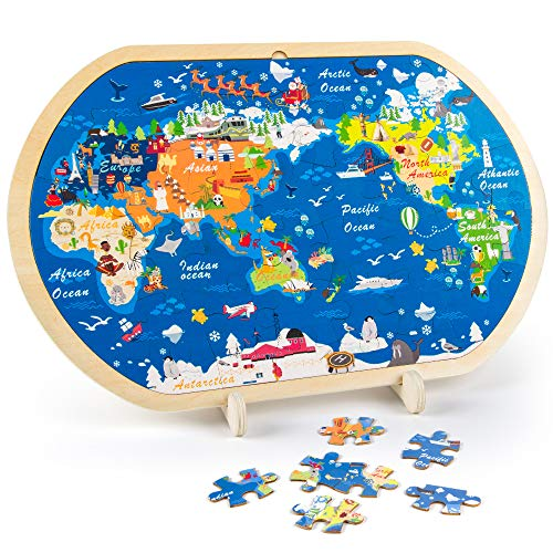 VATOS Wooden Jigsaws Puzzles for Toddlers, World Map Jigsaw Puzzles for Kids Prefect Wooden Toys for 3 4 5 6+ year olds Boys and Girls Montessori Toys Wooden Puzzles