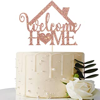 Rose Gold Glitter Welcome Home Cake Topper - Home Party Decoration - Welcome Sign - New Home / New Baby / Retiring from th...
