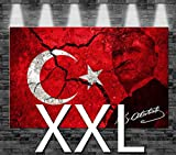 Premium Kunstdruck Leinwandbild - Türkei Atatürk Flagge auf Leinwand - aufgespannt auf 2cm Keilrahmen, aus Deutscher Herstellung, 110x70cm, Größe XXL