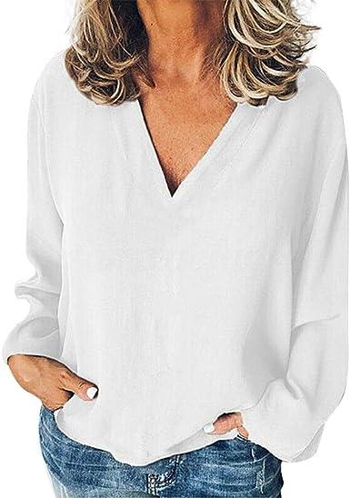 Camiseta con Cuello en V Color Lisas para Mujer Blusa Casual ...