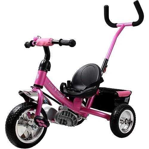 Deuba Tricycle pour Enfant - avec Barre à Pousser Vélo 3 Roues Tricycle Cyclisme