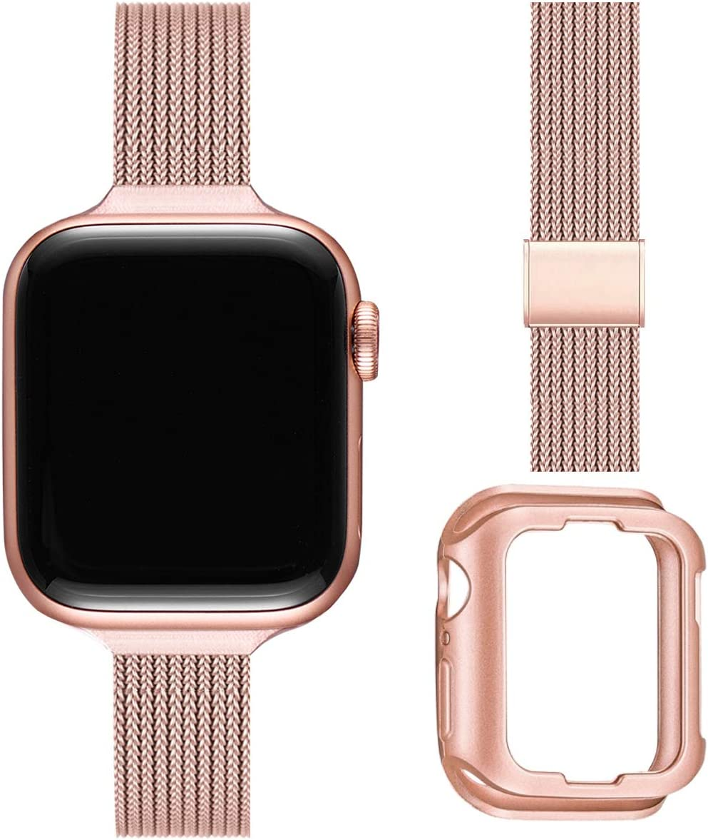 ZXCASD Slim Watch Band Compatible with Apple Watch Band 38mm 40mm 42mm 44mm for Women Girls, Stainless Steel Mesh Strap Replacement for iWatch SE iwatch Series 6/5/4/3/2/1(Rose Pink,38mm 40mm)