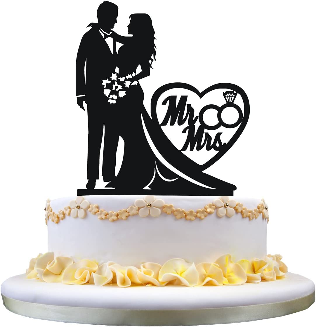 102258 Personalized Rustic Silhouette of Love Wedding Cake Topper