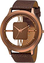 watch zone WatchZone Analogue Men's Transparent Watch (Brown Dial Brown Colored Strap) Pack of-1