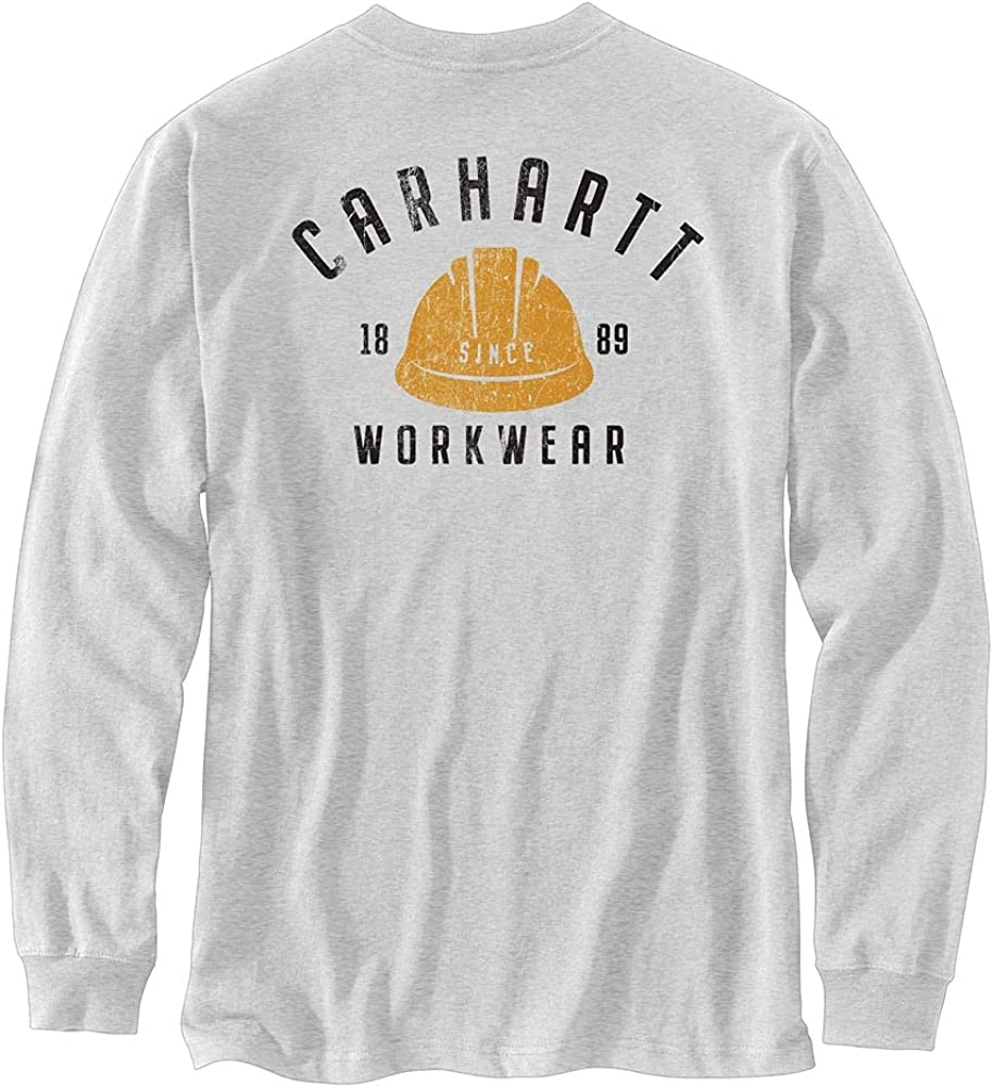 Carhartt Men's Relaxed Fit Heavyweight Long-Sleeve Hardhat Graphic T-Shirt