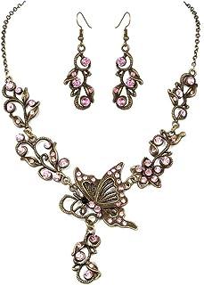 Gioielli Farfalla Amore Fiore Orecchini Collana gioielli Set