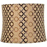 Copper Circles Medium Drum Lamp Shade 13' Top x 14' Bottom x 11' High (Spider) Replacement with Harp and Finial - Springcrest