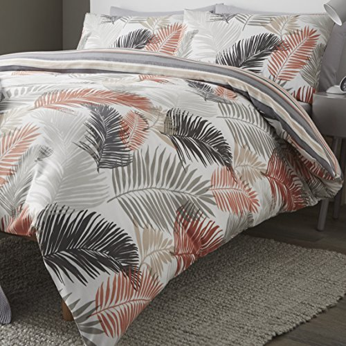 Fusion - Tropical - Easy Care Duvet Cover Set - Double Bed Size in Copper