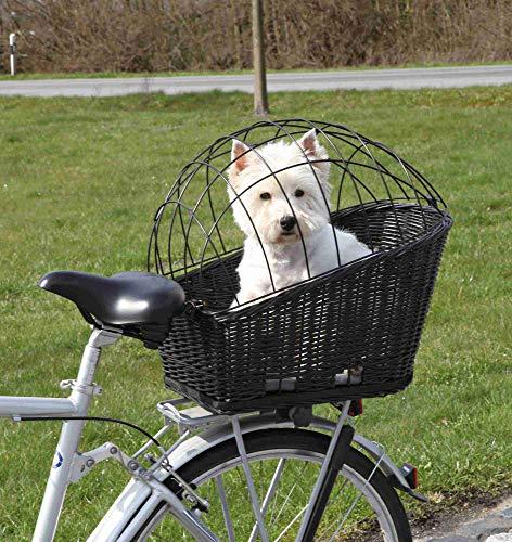 Trixie Cesta Perros para Bicicleta - Cesta Bicicleta Transporte Mascotas Cesta Mimbre Cesta con Rejilla 35×49×55 cm, Negro