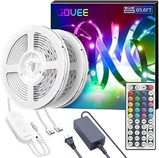 Govee 65.6ft LED Strip Lights, Upgraded Ultra-Long Colored LED Strip Lights with Remote, 1200LEDs SMD 5050 RGB LED Lights Strip, Dimmable LED Tape Lights for Bedroom Ceiling Under Cabient Lighting