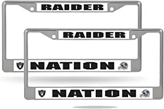 Oakland Raiders Nation NFL Chrome Metal (2) License Plate Frame Set