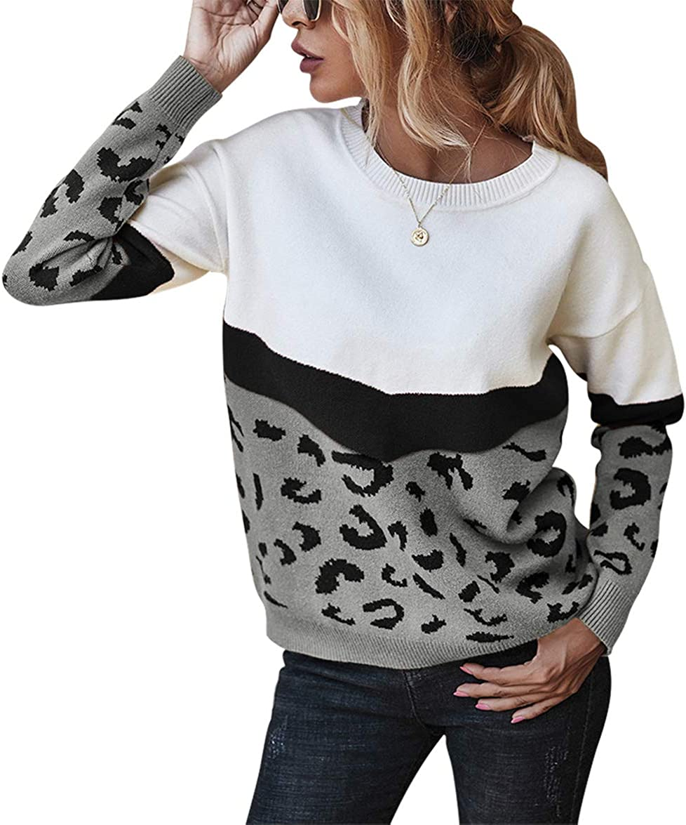 MILLCHIC Womens Color Block Striped Sweaters Long Sleeve Crew Neck Extra Soft Knitted Casual Pullover Jumper Tops