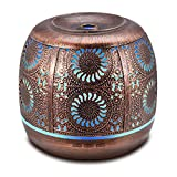 Metal Diffusers for Essential Oils, 500ml Large Aromatherapy Diffuser Red Bronze, Ultrasonic Diffuser Humidifier with 7 Color LED Lights for Home Decor, Office, Baby Room, Gift Idea