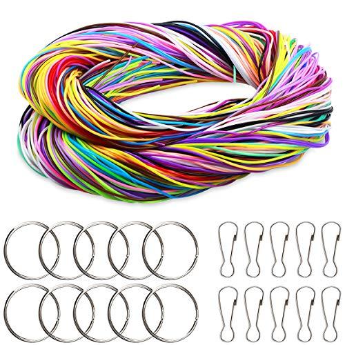 Vascinate 200 Stücke Plastik Bänder Streifen mit Haken und Schlüsselringe-20 Farben DIY Handmade Craft Gimp Schnürung Cord für Schmuckherstellung