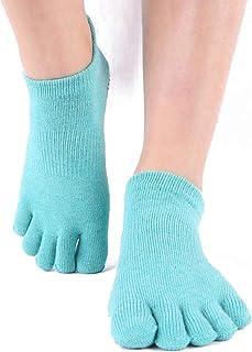 Yoga Antideslizantes Traspirable,Cinco Calcetines de los Dedos,Calcetines antideslizantes de algodón, para pilates, yoga y ballet, talla Danza Gimnasio Deportes Artes Marciales,35-39