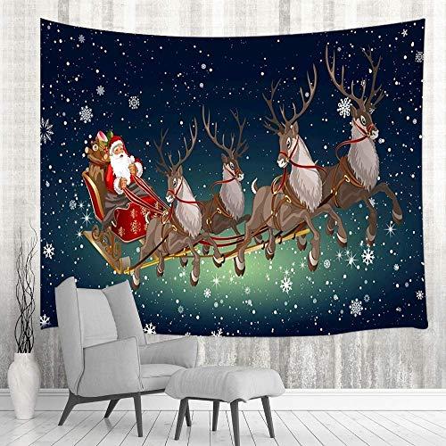 Tapestry Tapiz navideño de Papá Noel y ciervo, tapiz navideño de Papá Noel y reno con copo de nieve en cielo estrellado Colgantes de pared, tapices hippie Tapestries 80X60inch