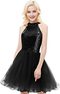 Yiweir Women s Short Halter Homecoming Dresses 2018 Tulle Sequins  Bridesmaid Prom Gowns H045 45900a50e