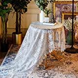 SUTAVIA Lace Patio Tablecloth Embroidered Camping Table Cloths,Classic Rectangular Oblong 59' x 82' Inch Dustproof Table Cover,for Kitchen Dining Picnic Table and Wedding Banquet (Grey)