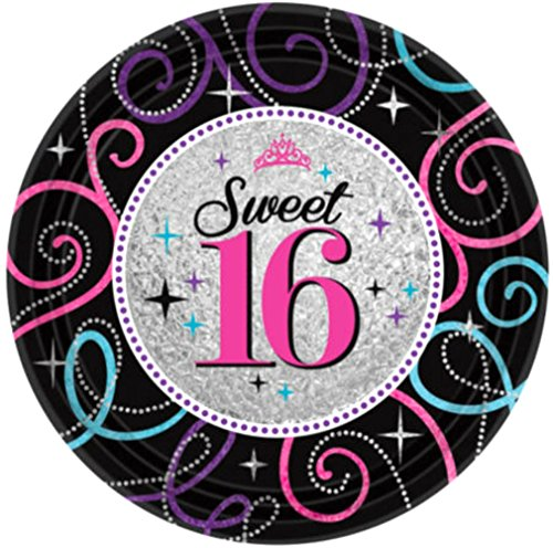 "Custom & Unique {7"" Inch} 8 Count Multi-Pack Set of Large Size Round Circle Disposable Paper Plates w/ Classic Sweet Sixteen 16 16th Birthday Party ""Black, Pink, Purple & Blue Colored"""