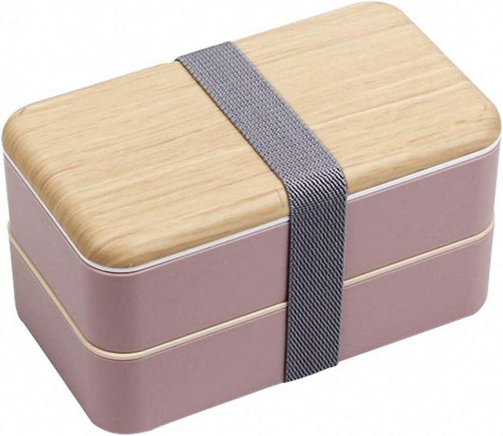 Fambrera Infantil, Lunch Box, 1200ml Fiambrera con Lonchera Doble, Cuchara Tenedor Lonchera, Bento Box Sostenible, para Microondas y Lavavajillas (Rosado)