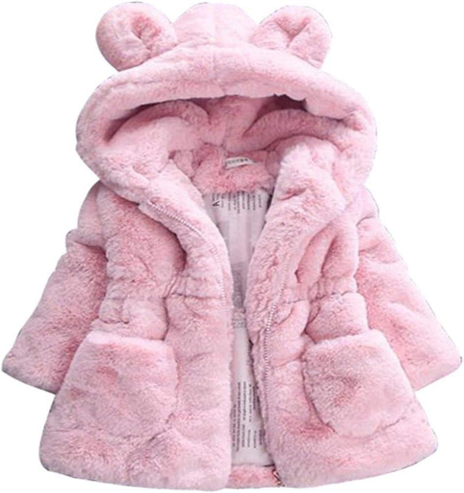 ADO Stap Sale Little Girls Winter Fleece Faux Hood Fur with Coat Kids Trust