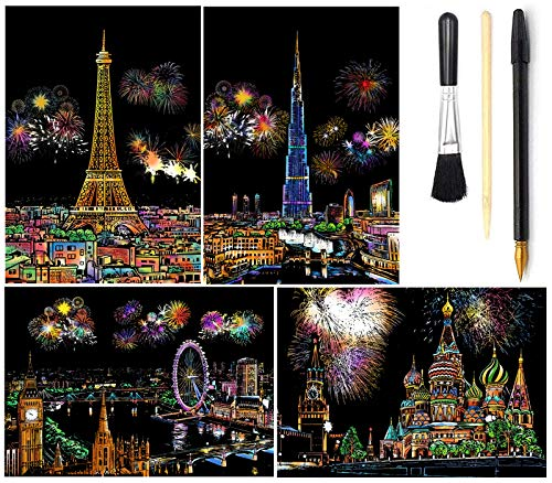 Wbeng Scratch & Sketch Art for Kids & Adults, Rainbow Painting Night View Scratchboard(A4), Art & Craft, Scratch Art Set: 4 Sheets Scratch Cards & Scratch Drawing Pen, Clean Brush (Fireworks Moscow)