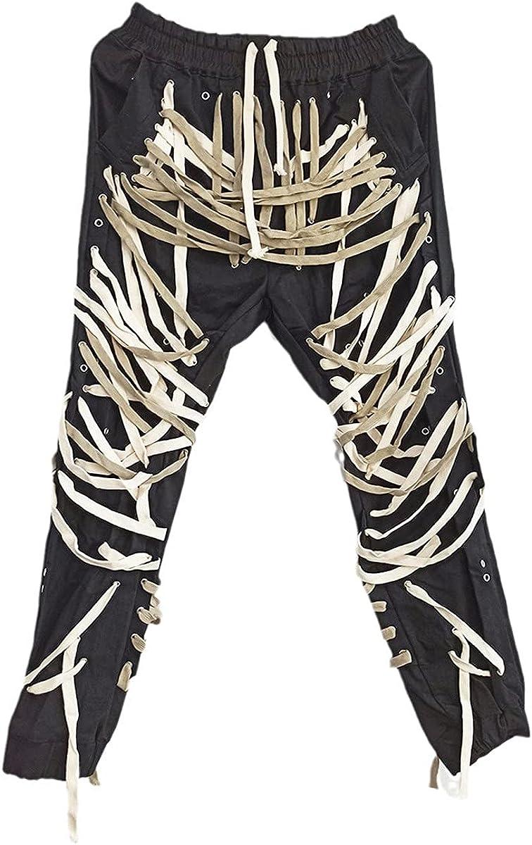 Men's High Street Patchwork Bandage Men's Pants High Waist Casual Slim Pants Street Fashion
