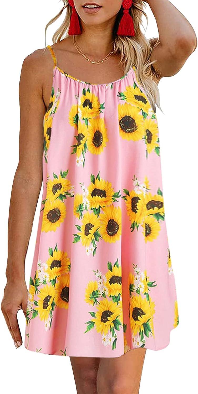 ManxiVoo Women's Backless Cami Dress Spaghetti Strap Floral Print Short Sundress Summer Party Casual Dress
