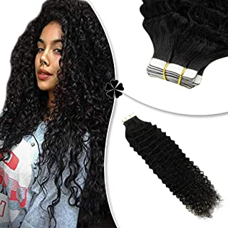 Hetto Tape in Hair Invisible Hair Extensions for Thin Hair #1 Jet Black Tape in Hair Extensions Kinkys Curly 18 Inch Seamless Hair Extensions 20pcs 50g Remy Hair Extensions Human Hair