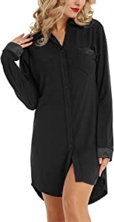 Zexxxy Women's Long Sleeve Pajama Top Nightgown Button Down Nightshirt Sleepwear Lapel Sleep Shirt Nightdress