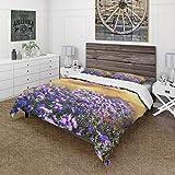 Funda nórdica Juego de 3 Piezas Juego de Cama de Microfibra Ultra Suave Flores púrpuras sobre Fondo marrón Diseño Rural y Rural