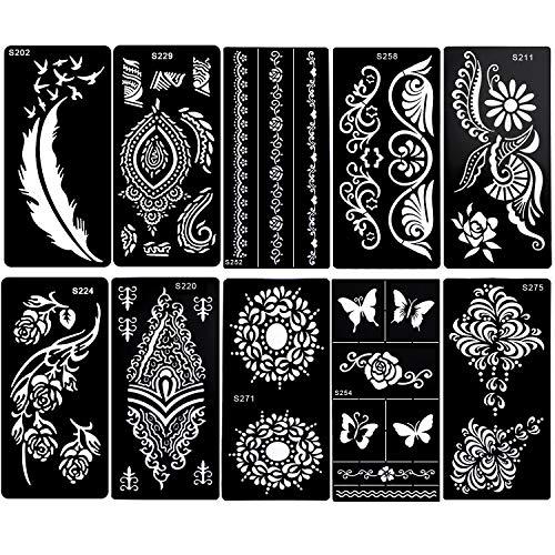 Konsait Henna Tattoo Schablonen, Glitter Tattoos Schablonen Feder Mandala Blume Schwarz Tattoos Schablone henna Tätowierung Designs für Frau Kinder Mädchen, 10 Blatt