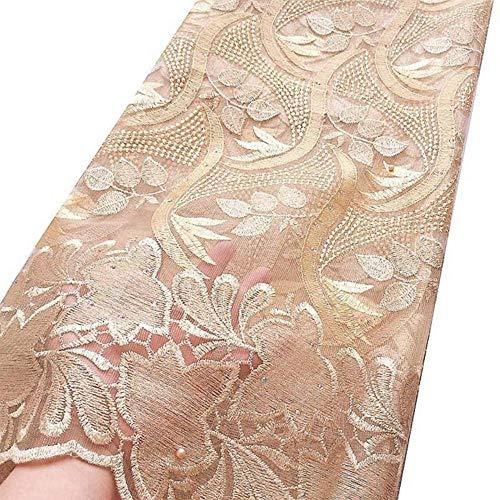 Afrikaanse kantstof 2019 Hoge kwaliteit koord Nigeriaanse kantstof Bruiloft Franse tule netto kantstof voor jurken, goud