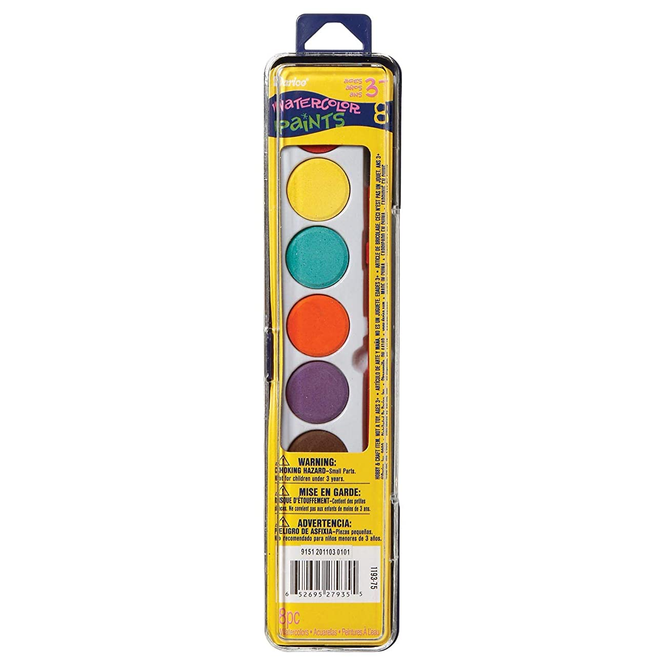 Bulk Buy: Darice Crafts for Kids Watercolor Paint Set with Brush 8 color (3-Pack) 1193-75