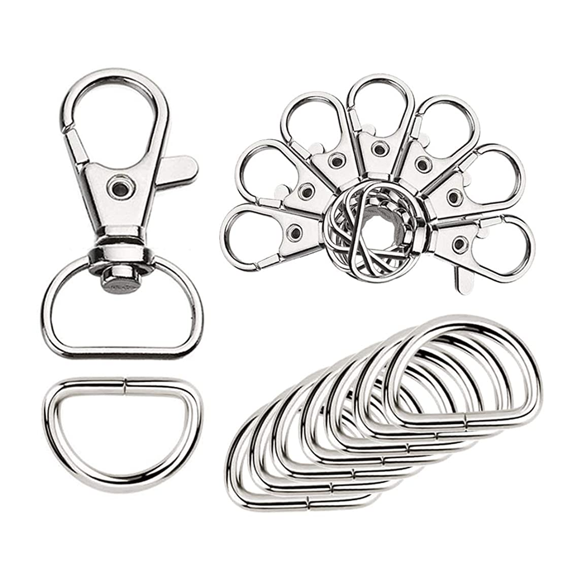 60Pcs Key Chain Hooks with D Rings for Handbag Purse Lanyard and Sewing Projects