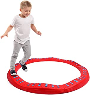 Special Supplies Wavy Circle Balance Beams Stepping Stones for Kids, 8 Pc. Set, Non-Slip Textured Surface and Slip Resistant Floor Rubber Edges, Promote Agility, Strength, Active Play