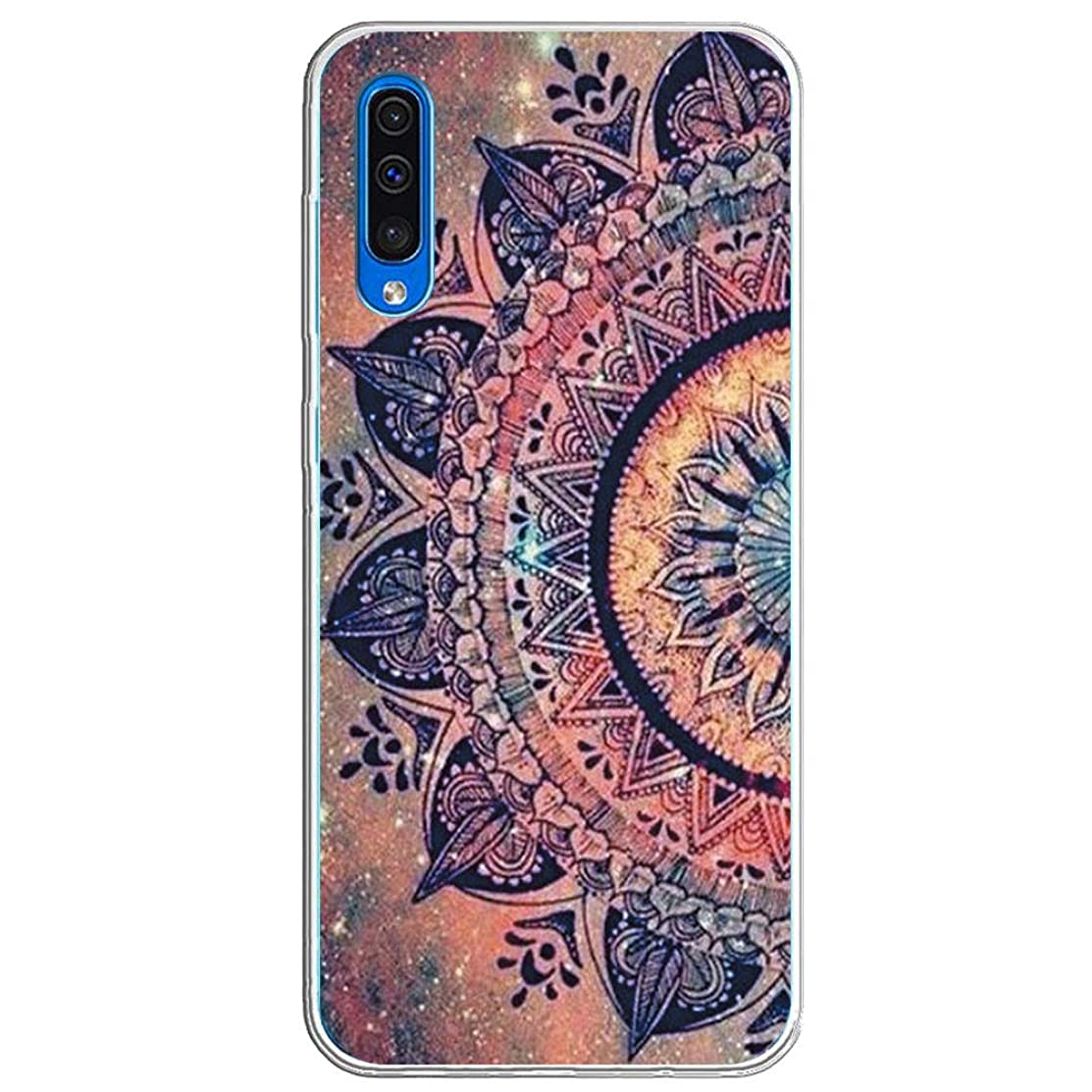 Case Compatible with Samsung Galaxy A40 Transparent TPU Flower Pattern Protective Cover for Galaxy A40 Mobile Phone