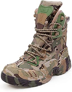 Aegilmc Men Camouflage Delta Military Boots, Boots Outdoor Men's Hiking Boots Tactical Combat Boots Shoes for Hiking, Hunting, Working, Army Training, Combat,44EU