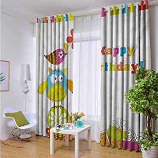 Outdoor- Free Standing Outdoor Privacy Curtain Kids Birthday,Patchwork Like Design with Owls Birds and Bugs Present Boxes on Polka Dots,Multicolor,W96