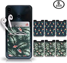 Cozihom Adhesive Cellphone Card Holder, Stick On Card Wallet, Credit Cards/ID Card Holder, Lycra Pouch with 3M Sticker Compatible with iPhone/Huawei/Samsung & All Smartphones, Pineapple/Palm, 6 pcs