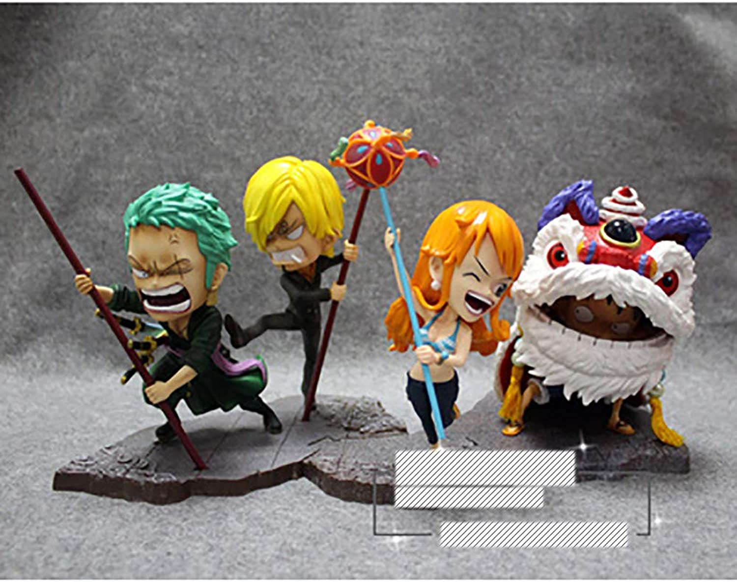 KUHU One Piece Anime Model Spring Festival Spring Festival Dragon and Lion Dance Hand Model Decoration Sauron 4 people