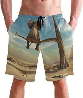 Beach Shorts, Funny Elephant Pattern Printed Mens Trunks Swim Short Quick Dry with Pockets for Summer Surfing Boardshorts ...