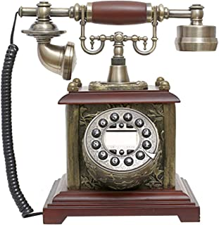 Vintage Antique Style Phone, Vintage Phone Button Dial, Resin + Solid Wood Office Home Living Room Decoration, Wonderful G...