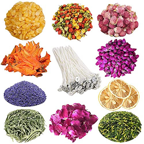 Dried Flowers-Natural Dried Flowers Herbs Kit for Bath, Soap Making, Candle Making, with 10PCS Candle Wicks, 10 Varieties Dried Rose Petals Lavender, Lily, Jasmine, Great for Lipgloss Making Supplies